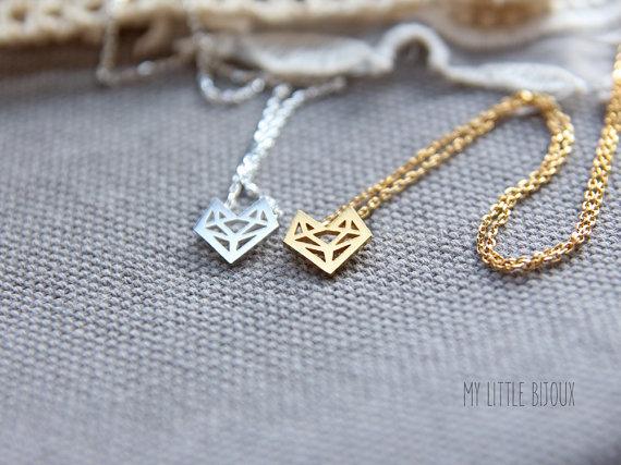 fox head origami necklace by mylb | Fox Ideas Weddings via http://emmalinebride.com/rustic/fox-ideas-weddings/