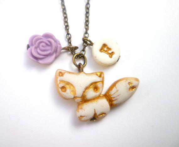 fox necklace for flower girl by vidarisa