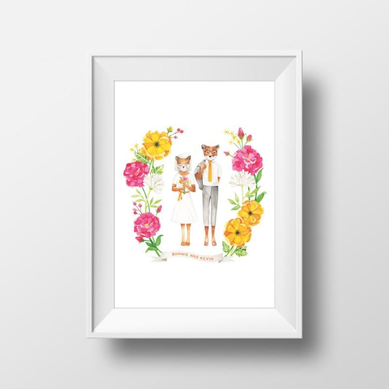 fox print from archer and olive | Fox Ideas Weddings via http://emmalinebride.com/rustic/fox-ideas-weddings/