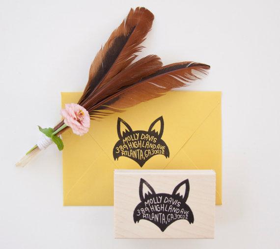 fox return address stamp by nativebear | Fox Ideas Weddings via http://emmalinebride.com/rustic/fox-ideas-weddings/