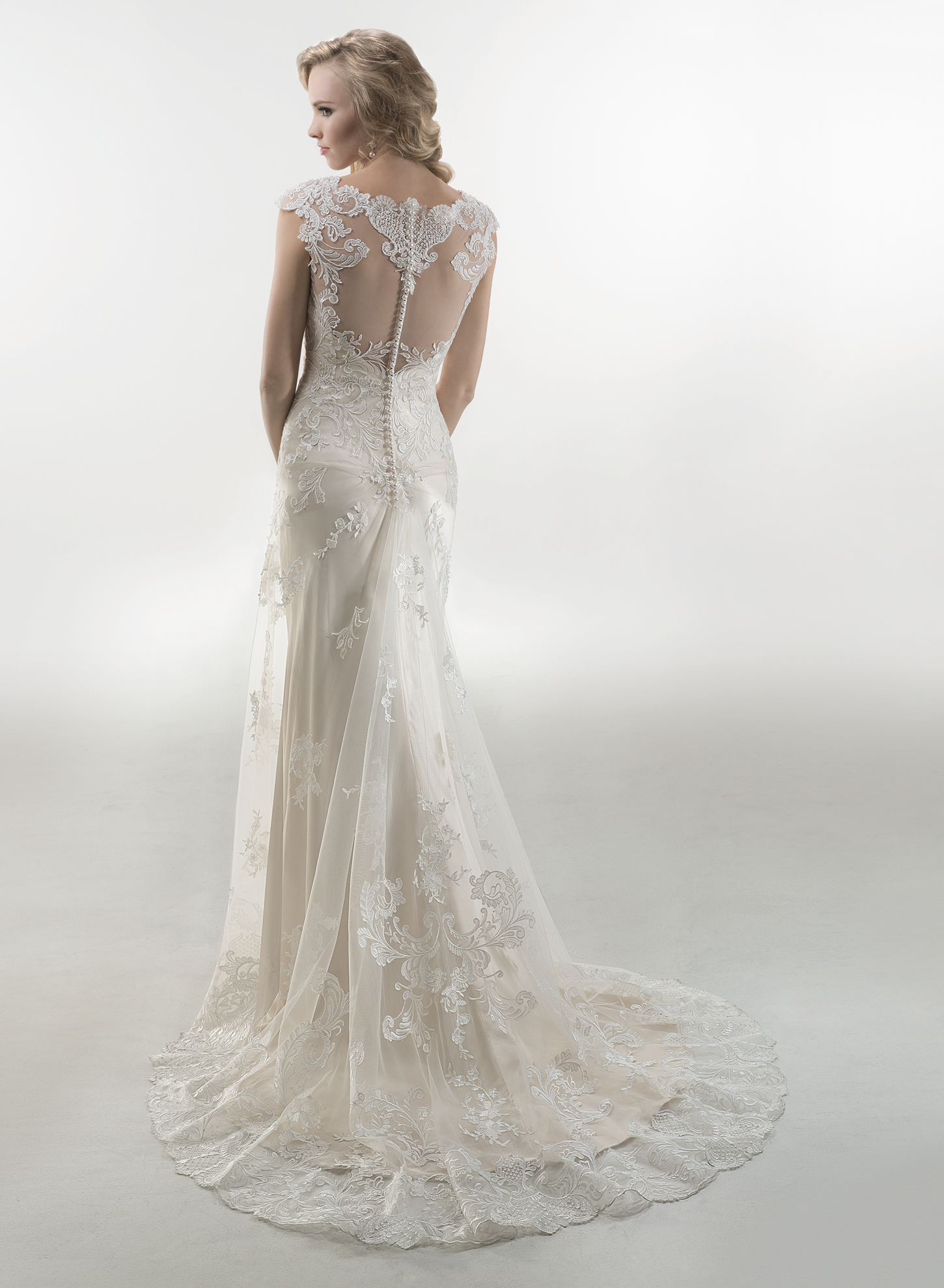 FRANCESCA (back view) | Sheath Wedding Dresses by Maggie Sottero | via EmmalineBride.com