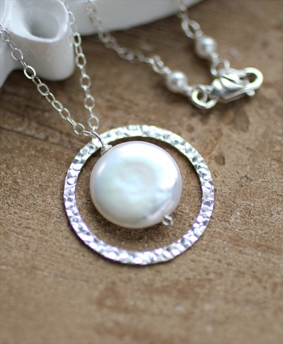 Wedding Jewelry for Mom - freshwater coin pearl necklace (by lrose designs)