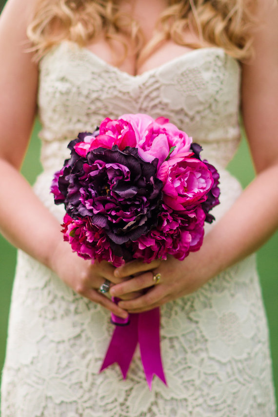 fuchsia and purple peony bouquet