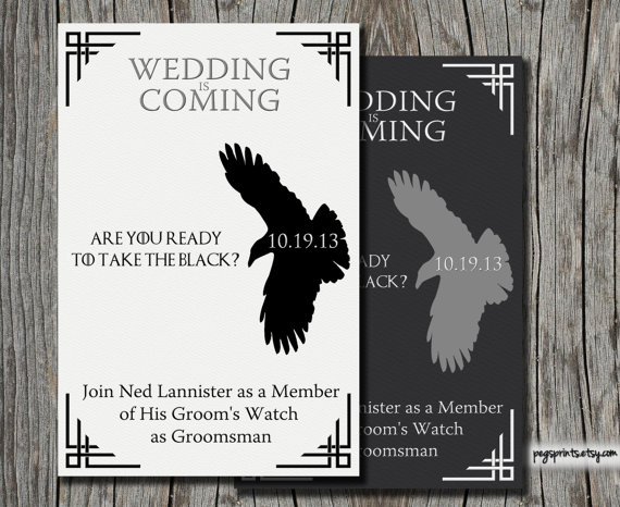 game of thrones be my groomsmen card | Funny Groomsmen Cards He'll Actually Want to