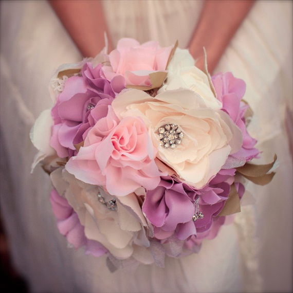Fabric Flower Bouquet (by Autumn & Grace Bridal) - garden party bouquet in purple and pink