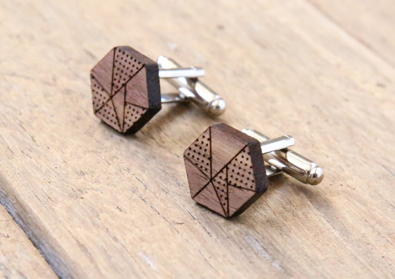 geometric | Custom Cufflinks Groomsmen Gifts | via EmmalineBride.com