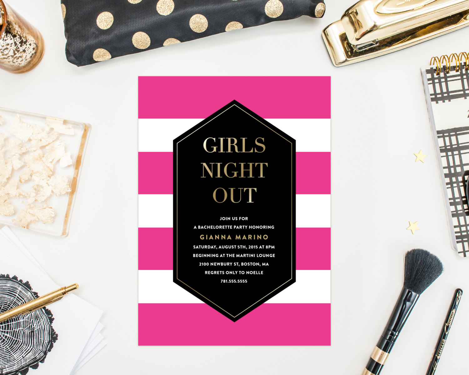 girls night out bachelorette party invitation by fine and dandy paperie | fun bachelorette party ideas | http://emmalinebride.com/planning/fun-bachelorette-party-ideas/