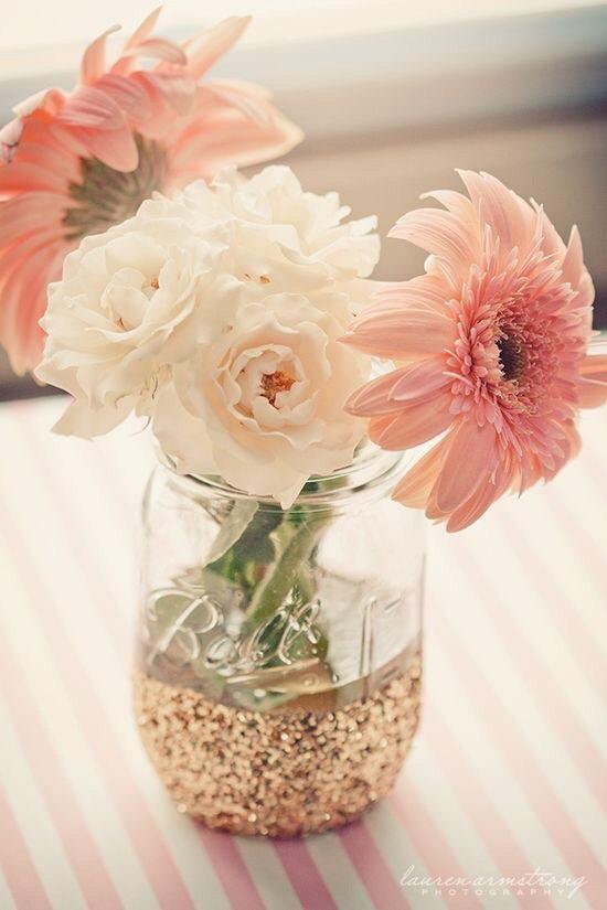 glitter dipped mason jars   mason jar ideas weddings