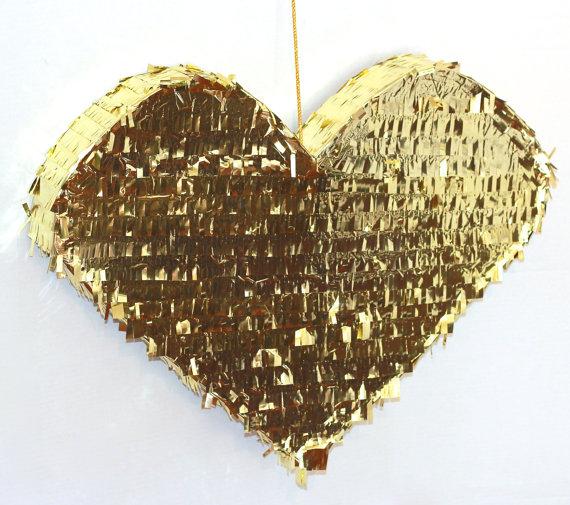glitter heart wedding pinata