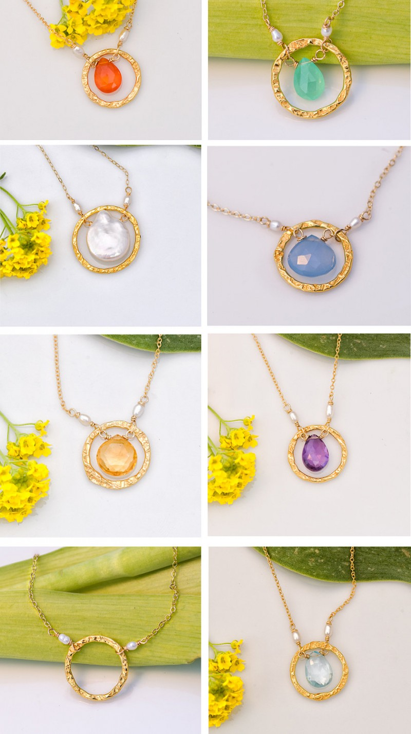 gold birthstone necklaces