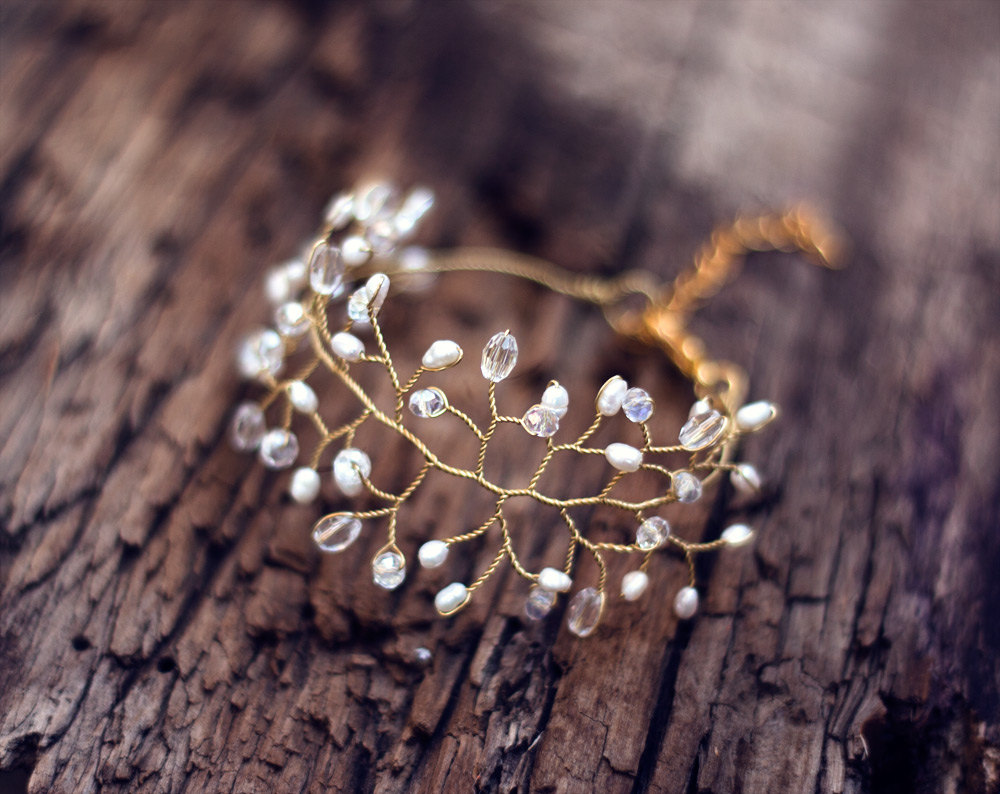 gold branch twig bracelet | Nature Inspired Wedding Ideas