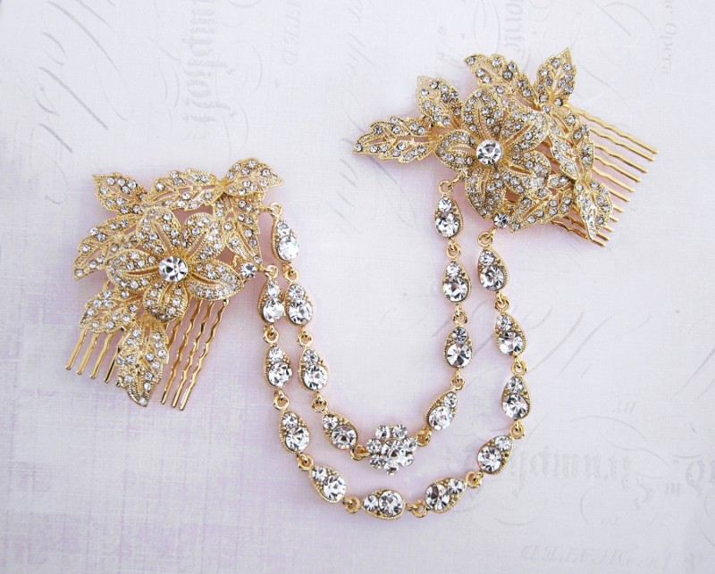 gold bridal hair chain | bridal hair chain | via https://emmalinebride.com/bride/bridal-hair-chain/