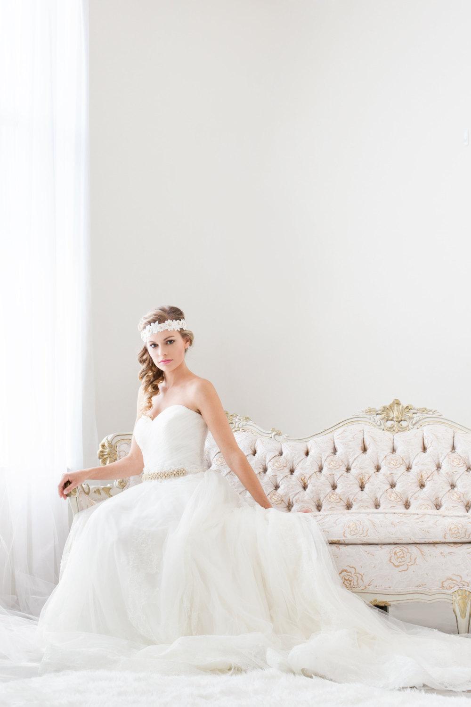 gold bridal sash bride by cloe noel, photo by la candella weddings