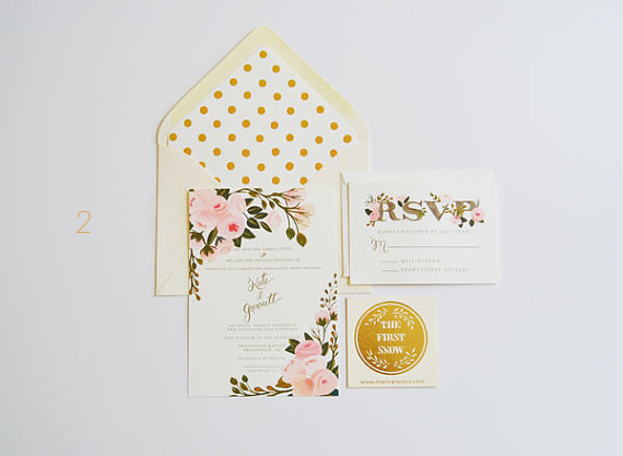 gold foil wedding invitations EmmalineBride.com