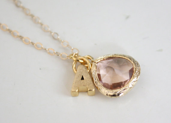 gold initial necklace with pendant | Wear Again Bridesmaid Necklaces by Ava Hope Designs from EmmalineBride.com