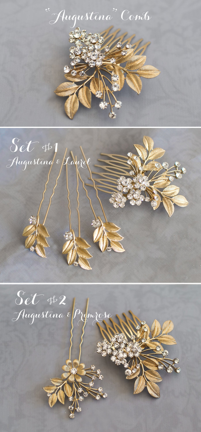 gold leaf hair accessory for weddings | lottie-da designs | https://emmalinebride.com/bride/gold-leaf-hair-accessory/
