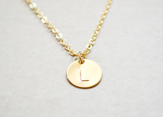 Gold Initial Pendant by The Blooming Thread (via The Marketplace at EmmalineBride.com)