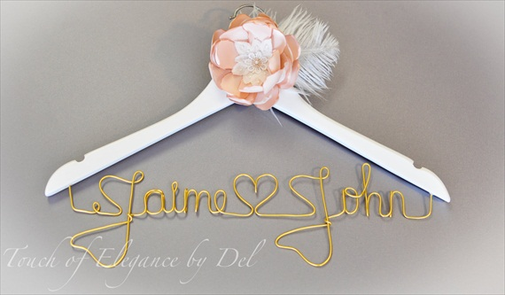 gold letters mr mrs wedding dress hanger