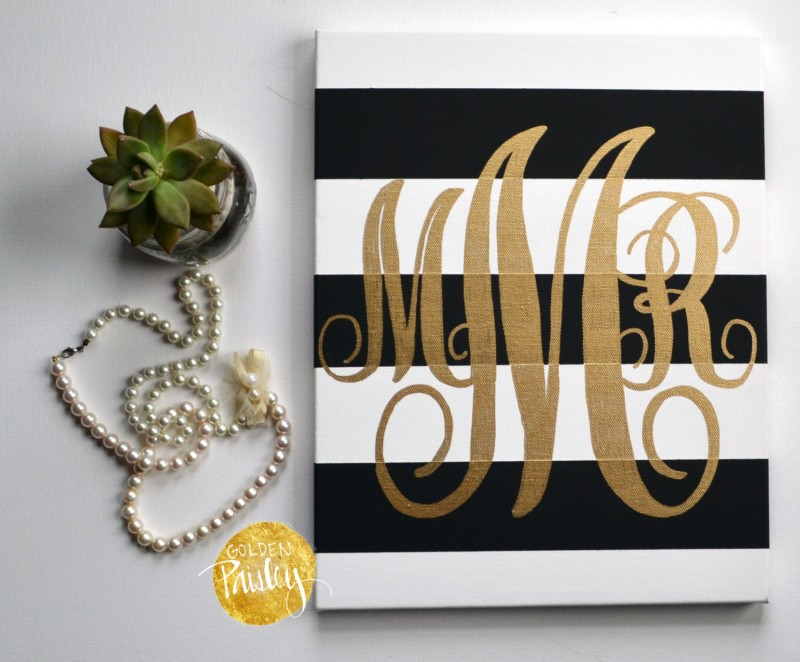 gold monogram wall art by golden paisley | bridesmaid gift ideas https://emmalinebride.com/gifts/bridesmaid-gift-ideas/