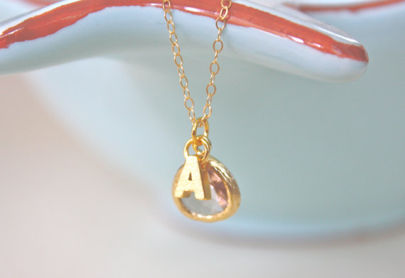 gold necklace with initial pendant | bridesmaid gift ideas http://emmalinebride.com/gifts/bridesmaid-gift-ideas/