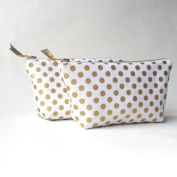 gold polka dot clutch purse | via polka dot wedding ideas http://emmalinebride.com/themes/polka-dot-wedding-ideas-handmade/