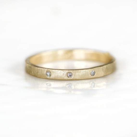 gold stackable band with diamonds | handmade wedding bands | http://emmalinebride.com/jewelry/handmade-wedding-bands/