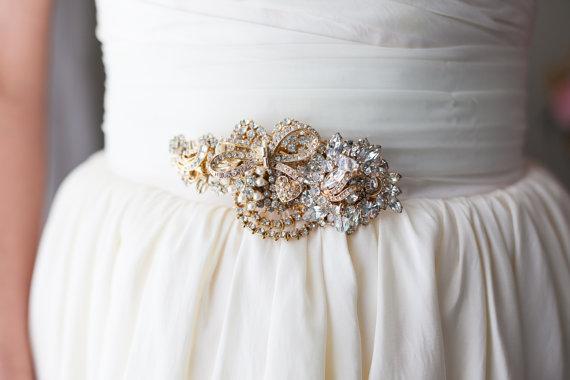 gold vintage brooch sash   dress sashes weddings  