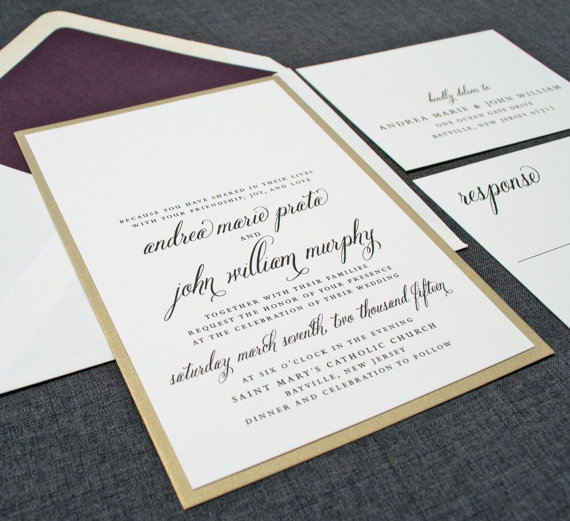 Cream and Gold Wedding Ideas: gold wedding invitations (by Cricket Printing) width=570 height=521 class=