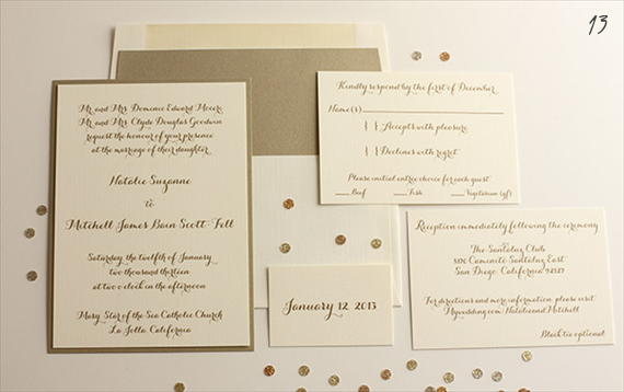 gold wedding invitations by blush paperie (via EmmalineBride.com)
