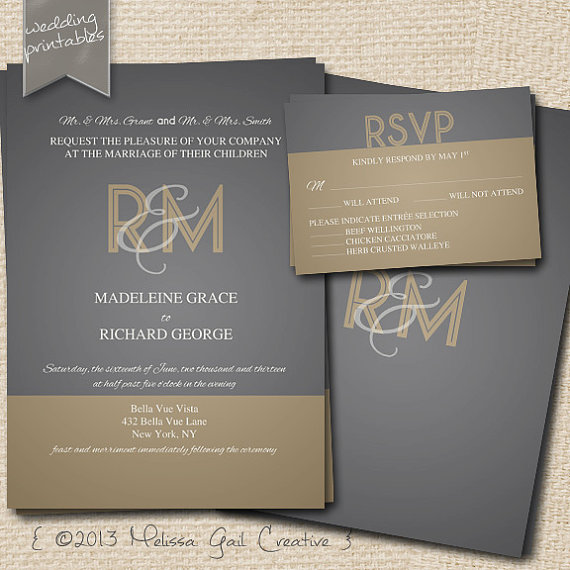 DIY Printable Wedding Invitations (by Melissa Gail Creative) - gold and gray art deco