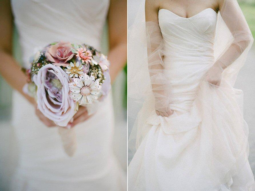 gorgeous brooch bouquet with purple flower - Wedding Brooch Bouquet Ideas