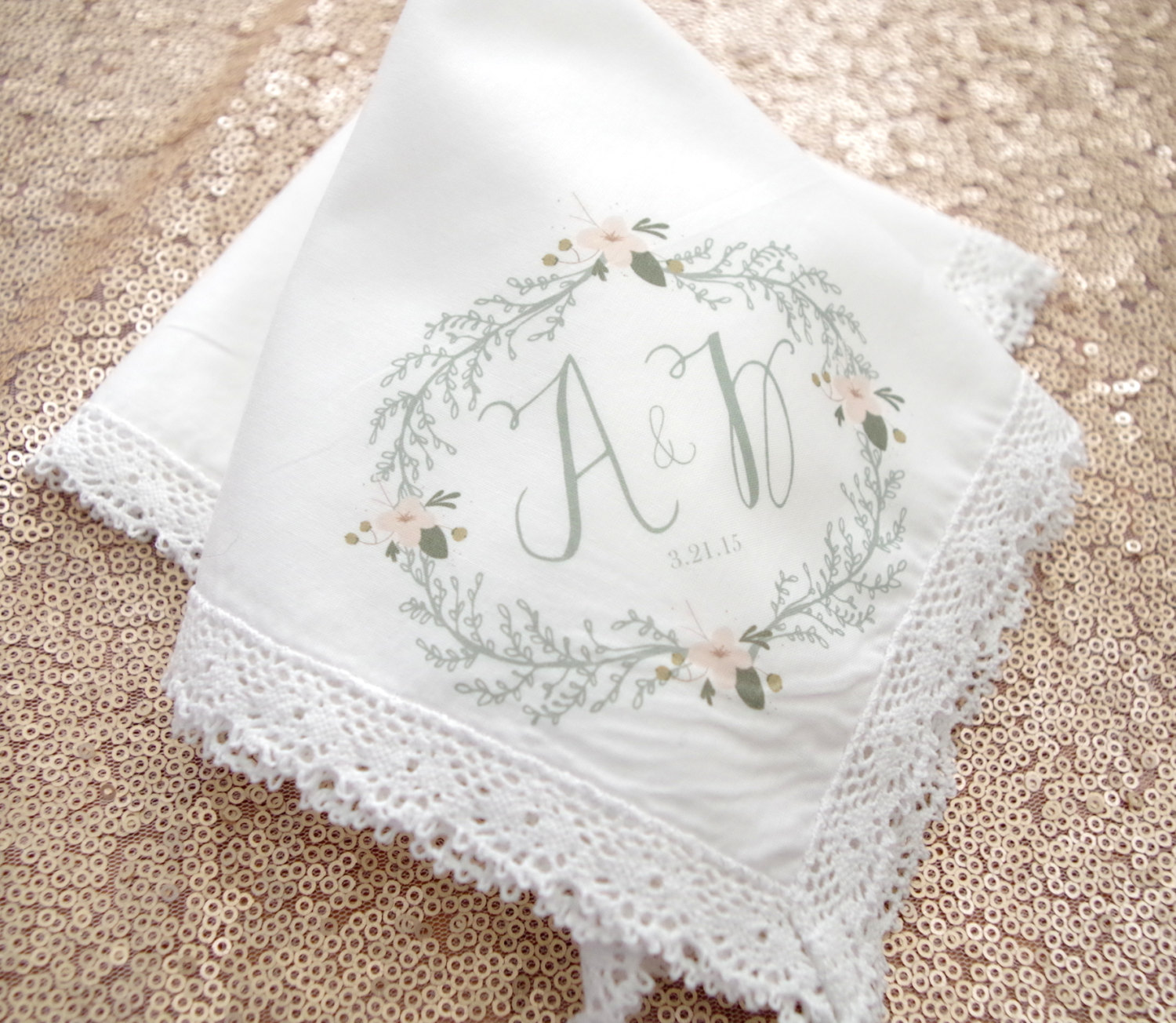 gorgeous floral monogram handkerchief | personalized wedding handkerchiefs and wedding hankies | https://emmalinebride.com/gifts/personalized-wedding-handkerchiefs/