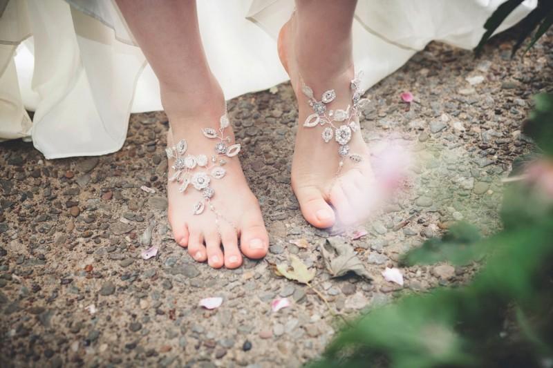 grecian barefoot sandals | via 31 Best Handmade Wedding Shoes https://emmalinebride.com/bride/handmade-wedding-shoes/