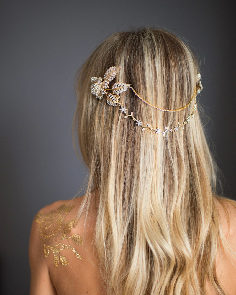 grecian wedding hair chain | bridal hair chain | via https://emmalinebride.com/bride/bridal-hair-chain/