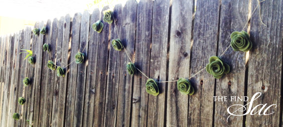 green felt rose flower banner