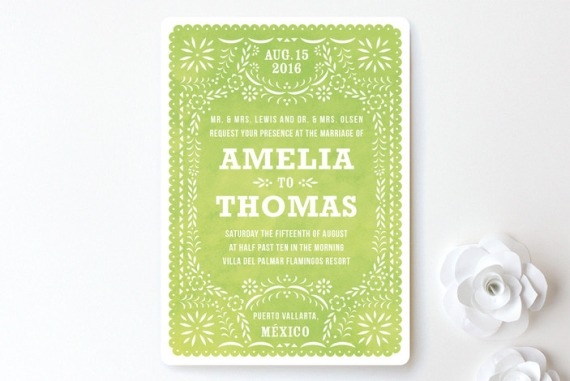 green floral folk wedding invitation