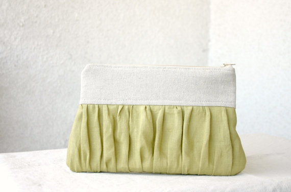 green pleated clutch purse