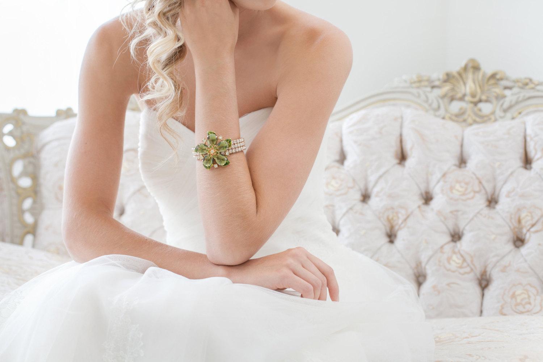 green rhinestone bridal cuff bracelet by cloe noel, photo by la candella weddings