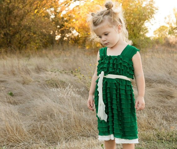 green ruffle flower girl dresses