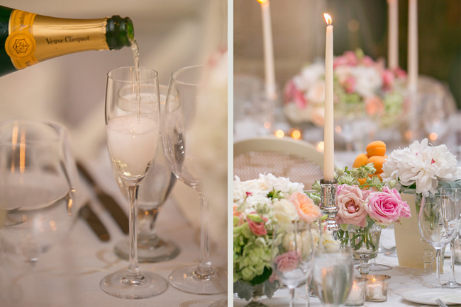 champagne and table decor at Connecticut waterfront wedding - photo: Melani Lust Photography | via https://emmalinebride.com