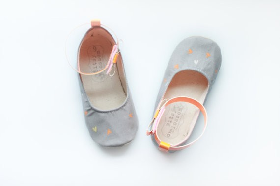 grey flower girl shoes with orange hearts neon | handmade flower girl shoes via https://emmalinebride.com/spring/handmade-flower-girl-shoes/