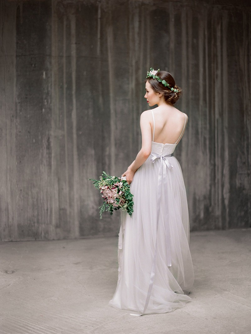 grey wedding dress chiffon bottom | by milamira bridal | https://emmalinebride.com/planning/dress-chiffon-bottom/