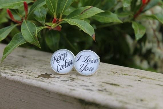 groom cufflinks - keep calm i love you cuff links