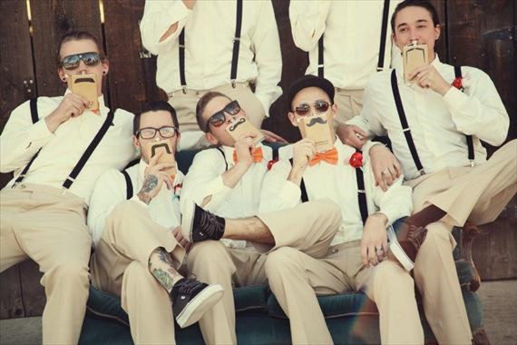 groomsmen mustache flasks from hipster barn wedding in California