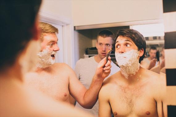 groomsmen shaving - justin battenfield