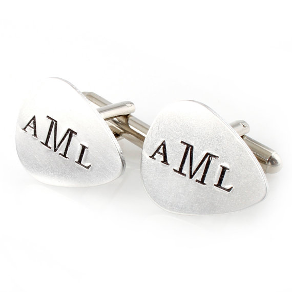 guitar pick cufflinks | Custom Cufflinks Groomsmen Gifts | via EmmalineBride.com
