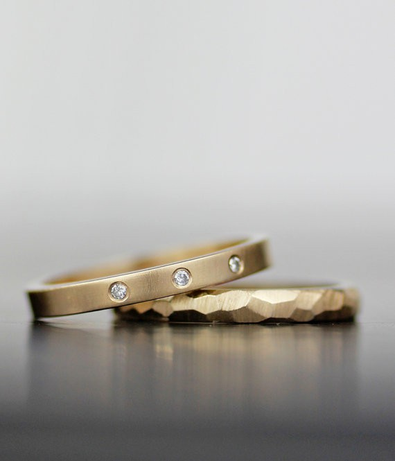 hammered set | handmade wedding bands | http://emmalinebride.com/jewelry/handmade-wedding-bands/