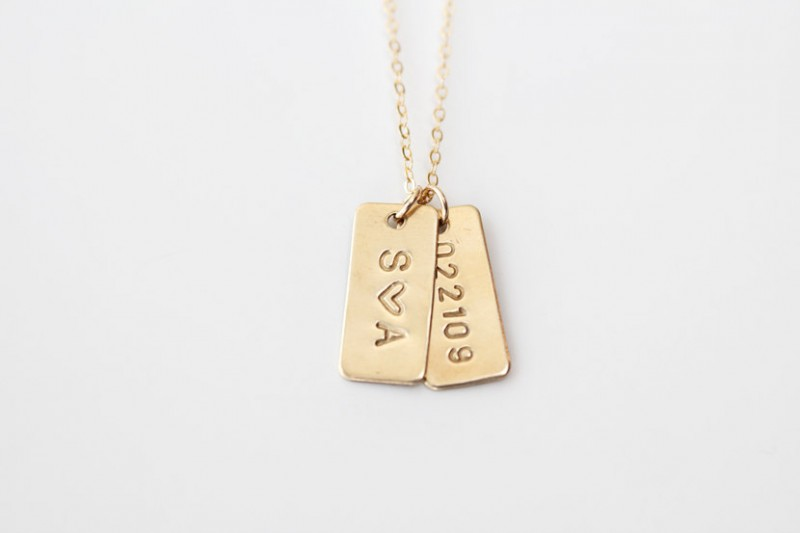 hand stamped date necklace