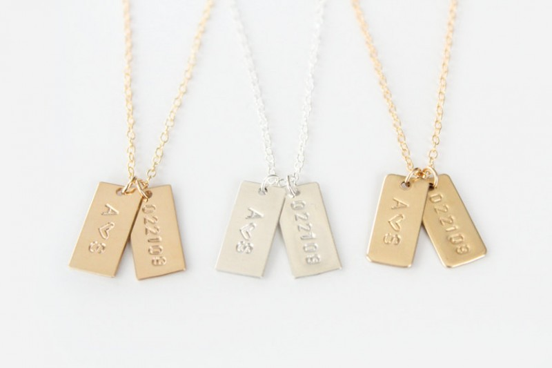 hand stamped necklaces with initials and date
