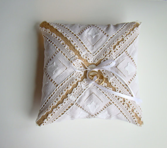 handkerchief wrapped burlap ring pillow